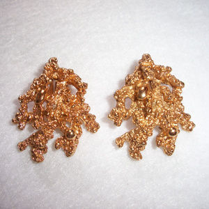 Vintage Gold Nugget Napier Earrings